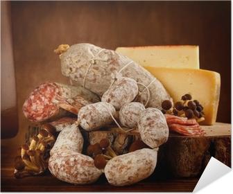 Selbstklebendes Poster Käse und Salami
