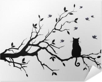 Selbstklebendes Poster Katze auf einem Baum mit Vögeln, Vektor