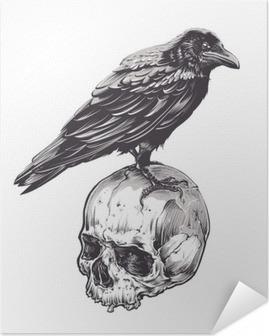 Selbstklebendes Poster Krähe auf Schädel