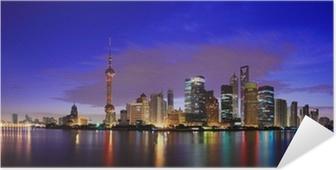 Selbstklebendes Poster Lujiazui Finance & Trade Zone Wahrzeichen von Shanghai Skyline in der Morgendämmerung