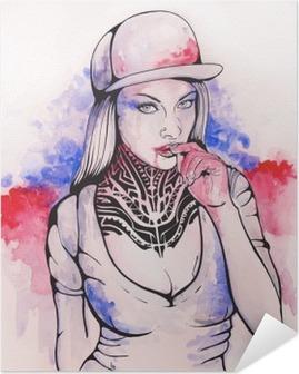 Selbstklebendes Poster Mädchen in einer Kappe und Tätowierungen