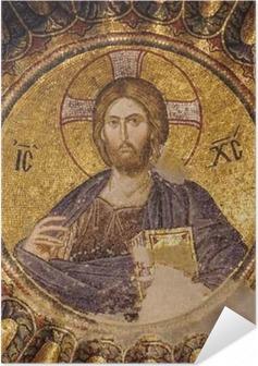 Selbstklebendes Poster Mosaik von Christus Pantokrator im Süden Kuppel des inneren Narthex der Chora-Kirche, Istanbul, Türkei.