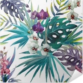 Selbstklebendes Poster Muster mit Hibiskus- und Orchideenblättern, Aquarell