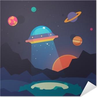 Selbstklebendes Poster Nacht fremde Welt Landschaft und ufo Raumschiff