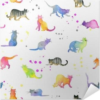 Selbstklebendes Poster Nahtlose Muster mit niedlichen Katzen