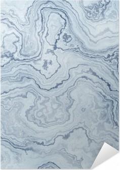 Selbstklebendes Poster Nahtlose Textur der blauen Marmor Muster für den Hintergrund / Illustration