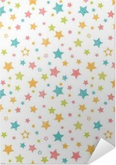 Selbstklebendes Poster Nette nahtlose Muster mit Sternen. Stilvolle Druck mit der Hand gezeichnet