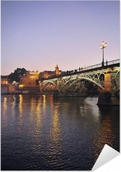Selbstklebendes Poster Noche de Sevilla, Triana Brücke, Spanien