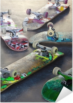 Selbstklebendes Poster Old Skateboards
