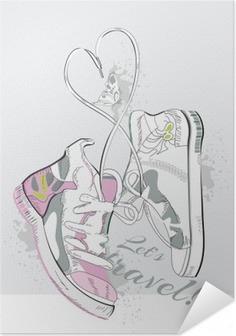 Selbstklebendes Poster Paar Turnschuhe mit Schnürsenkeln in Form von Herzen. Hand gezeichnet Vektor-Illustration.