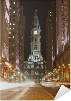 Selbstklebendes Poster Philadelphia Straßen bei Nacht