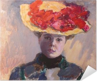 Selbstklebendes Poster Pierre Bonnard - Mädchen im Strohhut