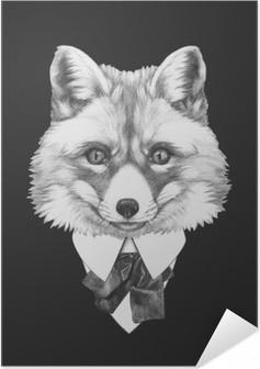 Selbstklebendes Poster Portrait von Fox in der Klage. Hand gezeichnete Illustration.