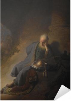 Selbstklebendes Poster Rembrandt - Jeremia beklagt die Zerstörung Jerusalems