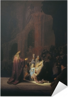 Selbstklebendes Poster Rembrandt - Simeon im Tempel