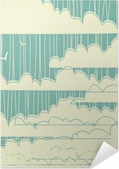 Selbstklebendes Poster Retro Grunge Wolken Hintergrund