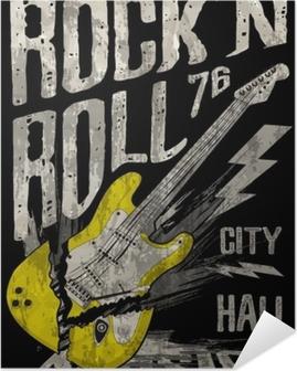 Selbstklebendes Poster Rock'n Roll Poster Gitarre Grafik Design Tee Kunst