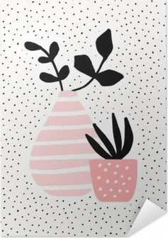 Selbstklebendes Poster Rosa Vase und Topf mit Pflanzen