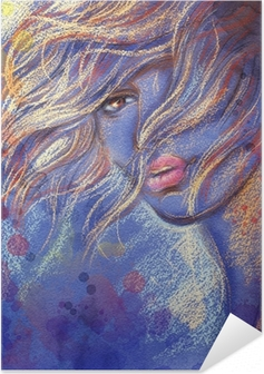 Selbstklebendes Poster Schöne Frau. Aquarell Illustration