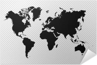 Selbstklebendes Poster Schwarz Silhouette Weltkarte EPS10 Vektor-Datei.