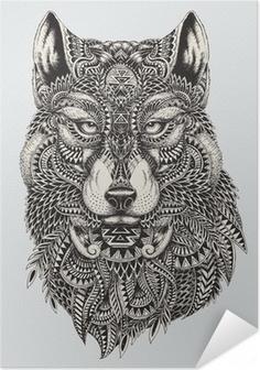 Selbstklebendes Poster Sehr detaillierte abstrakte Wolf illustration