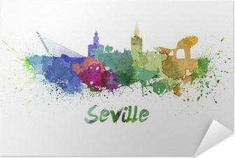 Selbstklebendes Poster Sevilla Skyline in Aquarell