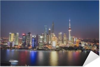 Selbstklebendes Poster Shanghai Lujiazui Nachtansicht