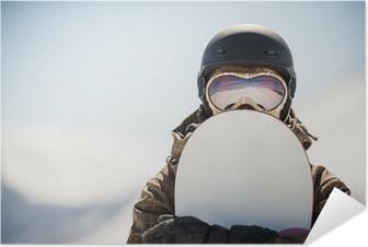 Selbstklebendes Poster Snowboard-und Snowboarder