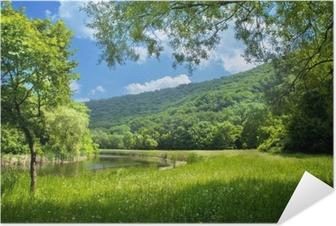 Selbstklebendes Poster Sommer Landschaft mit Fluss und blauer Himmel
