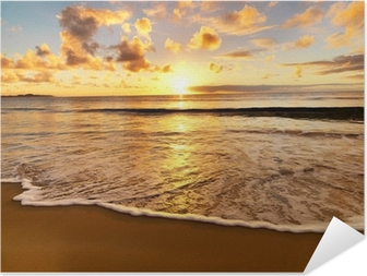 Selbstklebendes Poster Sonnenuntergang am Strand