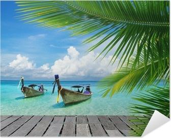 Selbstklebendes Poster Steg mit Blick auf das tropische Meer