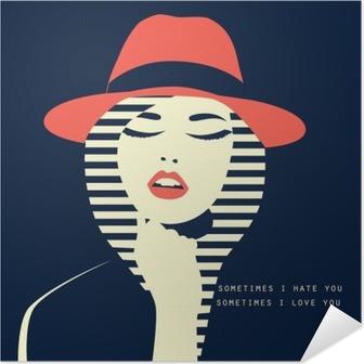 Selbstklebendes Poster Stilisierte sexy Frau mit Hut
