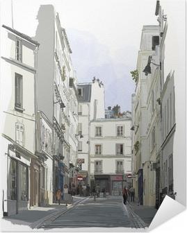 Selbstklebendes Poster Straße nahe Montmartre in Paris