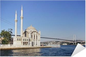 Selbstklebendes Poster Summer at Ortakoy mit Mecidiye Moschee