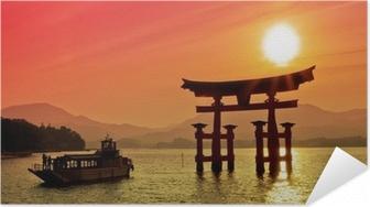 Selbstklebendes Poster Sunset Blick Torii-Tor, Miyajima, Japan