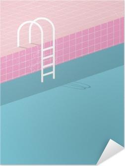 Selbstklebendes Poster Swimmingpool im Vintage-Stil. Alte Retro-rosa Fliesen und weißen Leiter. Sommer Poster Hintergrund Vorlage.