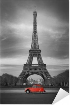Selbstklebendes Poster Tour Eiffel et voiture rouge-Paris