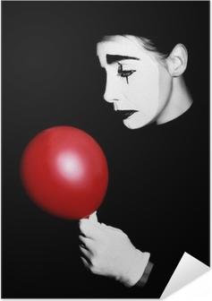 Selbstklebendes Poster Trauriger Pantomime Pantomime Darsteller
