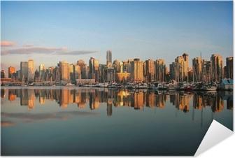 Selbstklebendes Poster Vancouver Skyline bei Sonnenuntergang