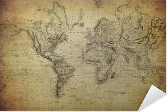 Selbstklebendes Poster Vintage Karte der Welt 1814 ..