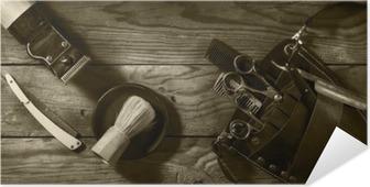 Selbstklebendes Poster Vintage Satz von Barbershop.Toning Sepia