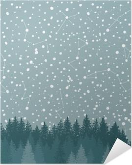 Selbstklebendes Poster Wald und Nachthimmel mit Sternen Vektor Hintergrund. Raum Hintergrund.