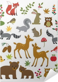 Selbstklebendes Poster Wald Wildtiere Cliparts
