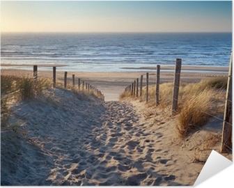 Selbstklebendes Poster Weg zum Nordseestrand in Gold Sonnenschein