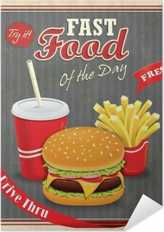 Selbstklebendes Poster Weinlese-Fast-Food-Plakatentwurf mit Burger, Pommes Frites
