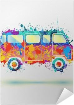 Selbstklebendes Poster Weinlese-Hippie Camper Bus. Vektor