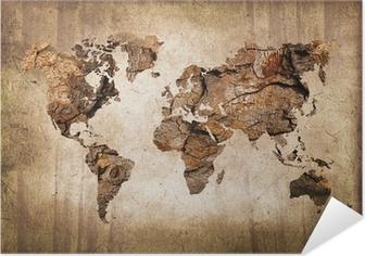 Selbstklebendes Poster Weltkarte aus Holz im Vintage-Stil