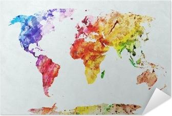 Selbstklebendes Poster Weltkarte in Aquarell