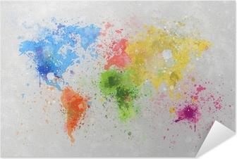 Selbstklebendes Poster Weltkarte Malerei