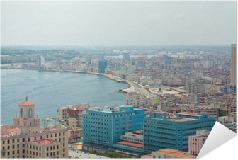 Aerial view of the Havana shore Self-Adhesive Poster